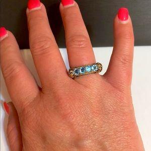 Effy Blue Topaz 18k YG & sterling silver ring
